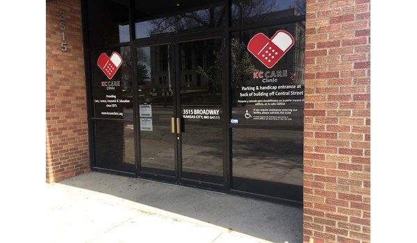 Cut Vinyl Window Logo and Lettering for KC Care Clinic in Kansas City, Missouri