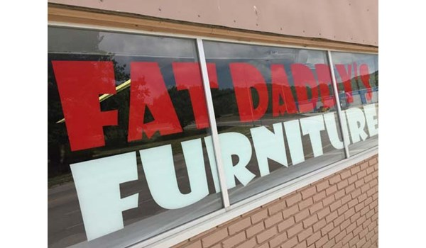 Second-Surface Window Graphics for Fat Daddys Furniture in Kansas City, Kansas