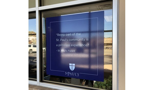 Window Graphic for St. Pauls Episcopal Day School in Kansas City, Missouri