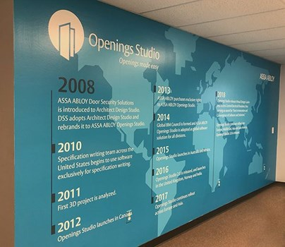 Full Color Interior Wall Graphic for Assa Abloy in Overland Park, Kansas