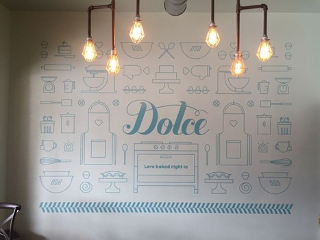 Interior Cut Vinyl Wall Graphic for Dolce Bakery in Prairie Village, Kansas