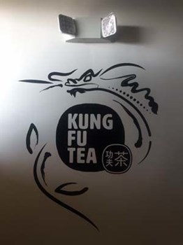 Interior Black Cut Vinyl Wall Graphic for Kung Fu Tea in Overland Park, Kansas
