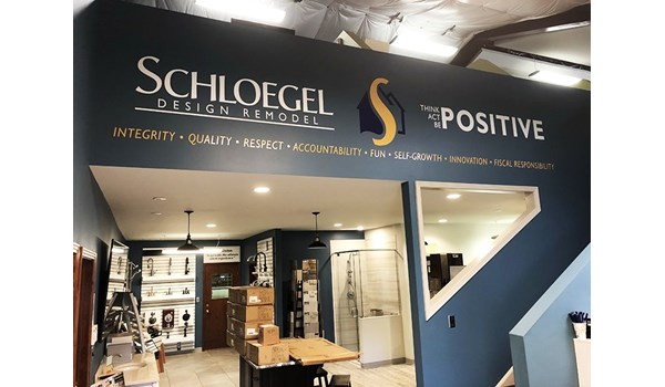 Interior Cut Vinyl Lettering Wall Graphic for Schloegel Design Remodel in Kansas City, Missouri