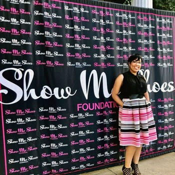 8 x 10 Step and Repeat Fabric Backdrop for Show Me Shoes Foundation in Kansas City, Missouri