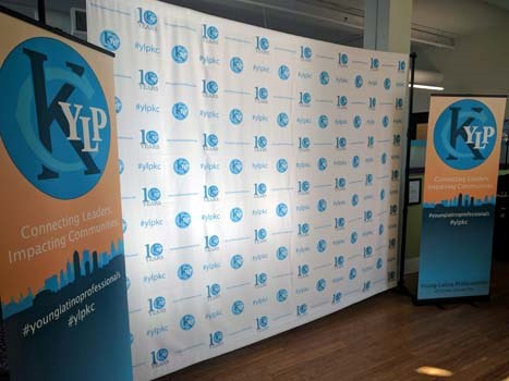 Step and Repeat Backdrop and Banner Stands for Young Latino Professionals in Kansas City, MO