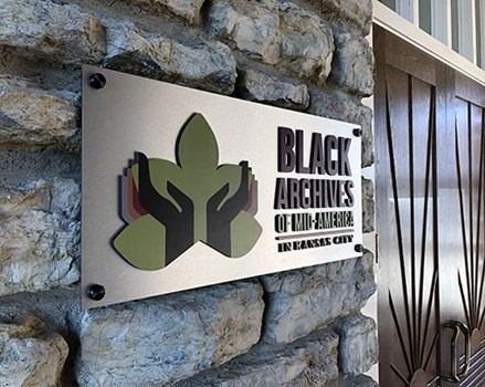 Interior Brushed Metal with Dimensional Acrylic and Black Standoffs for Black Archives of Mid-America in Kansas City, Missouri