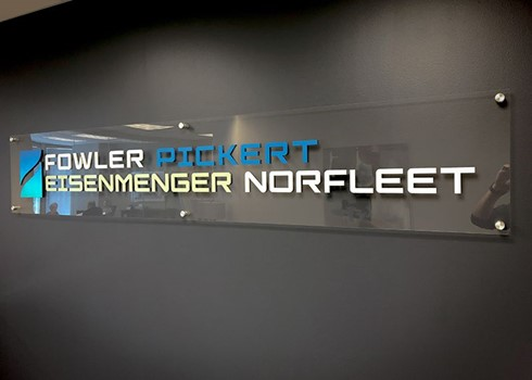 Interior Clear Acrylic with Custom Painted Dimensional Letters and Brushed Silver Standoffs for Fowler Pickert Eisenmenger Norfleet in Kansas City, Missouri