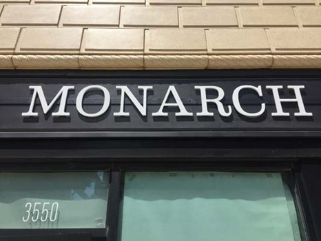White Acrylic Dimensional Lettering for Monarch in Kansas City, Missouri
