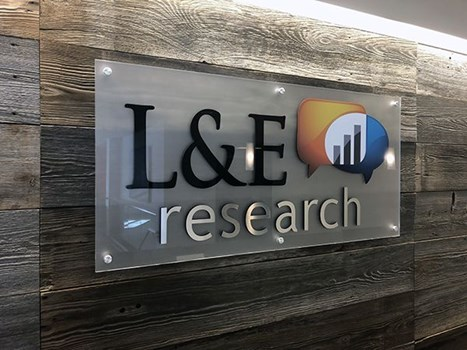 Frosted Acrylic Dimensional Lobby Sign for L&E Research in Kansas City, Missouri