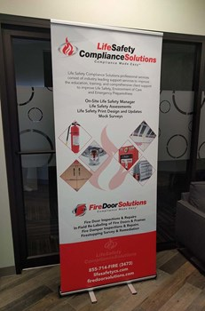 Retractable Banner Stand for Fire Door Solutions