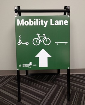 Metal A-Frame Sign for KC Mobility Lanes in Kansas City, Missouri