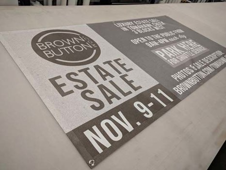 Exterior Mesh Vinyl Banner with Grommets for Brown Button Estate Sales in Kansas City, Missouri