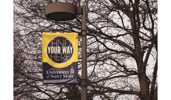 Exterior Double-Sided Street Pole Banners for University of St. Mary in Overland Park, KS