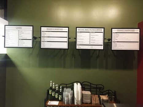 Styrene Menu Boards with Custom Hanging Frames for Songbird Cafe in Kansas City, Missouri