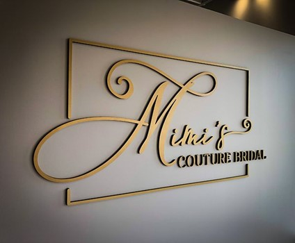 Interior Painted PVC 3D Dimensional Sign for Mimis Couture Bridal in Overland Park, Kansas