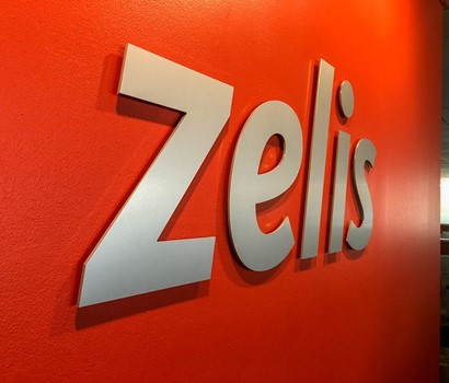 Brushed Metal Dimensional Letter Installation for Zelis in Overland Park, Kansas