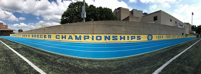 Fence Banners for Durwood Stadium for UMKC Athletic Department in Kansas City, Missouri