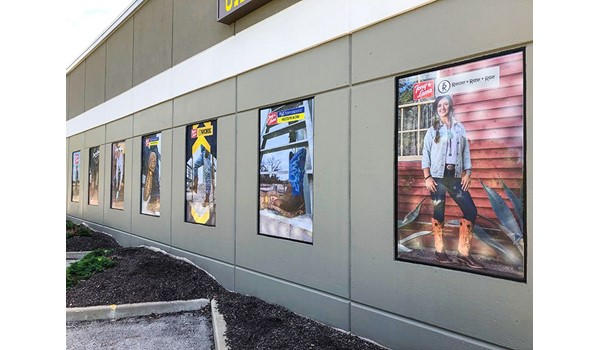 Exterior Perforated Window Graphics for Chucks Boots in Lees Summit, Missouri