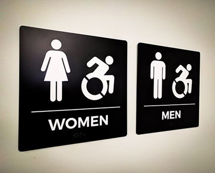 Interior ADA Disability Braille Restroom Signs