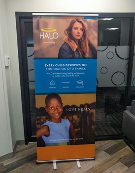 Retractable Banner Stand for The Halo Foundation in Kansas City, Missouri