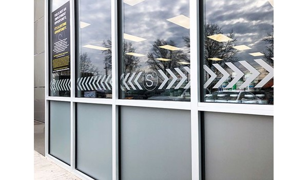Exterior Frosted Etched Vinyl for Window Glass and Door for Supplement Superstore in North Kansas City, Missouri
