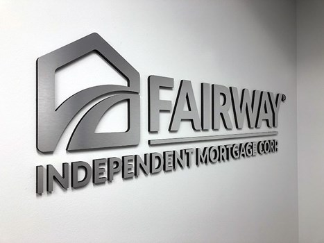 Interior Brushed Silver Dimensional Logo for Fairway Independent Mortgage in Prairie Village, KS