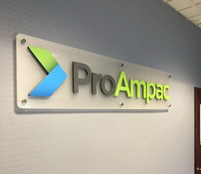 Interior Dimensional Acrylic Sign with Polished Standoffs for Proampac in Kansas City, Missouri