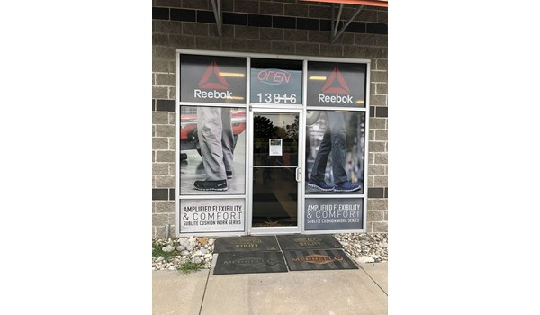 Exterior Perforated Window Vinyl for E. Edwards Workwear in Grandview, Missouri