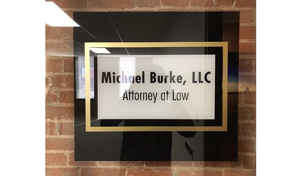 Second Surface Door Graphic for Michael Burke, LLC in Kansas City, Missouri