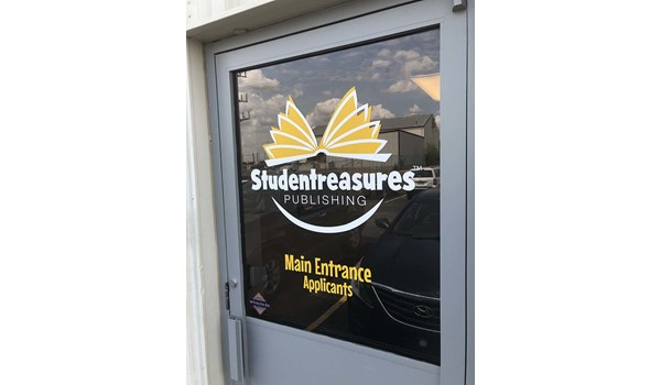 Exterior Cut Vinyl Door Graphics for Studentreasures Publishing in Topeka, Kansas