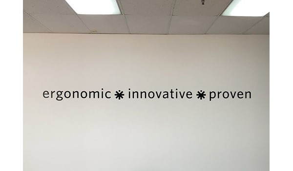 Interior Cut Black Vinyl Wall Graphic for Medical Positioning Inc. in Kansas City, Kansas