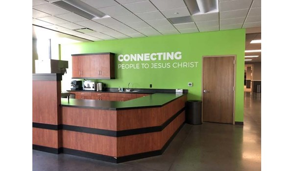 Interior Cut Vinyl Wall Graphic for Woods Chapel Church in Lees Summit, Missouri
