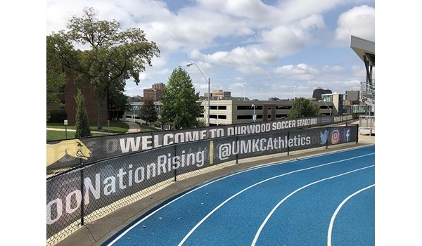 Mesh Banner Fence Wraps for UMKC Athletic Department in Kansas City, Missouri