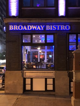 Halo-lit Aluminum Dimensional Letters on Raceway for Broadway Bistro in Kansas City, Missouri