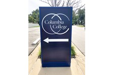 Exterior Illuminated Wayfinding Cabinet for Columbia College in Kansas City, Missouri