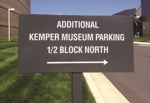 Exterior Aluminum Sign with Post for Kemper Museum of Contemporary Art in Kansas City, MO